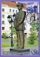 Kazakhstan 2016. Maxicard. The 50th Anniversary Of  De Gaulle's Visit To Baikonur. Maximum Cards. Monument In Astana. - De Gaulle (Général)