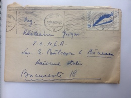 68 SKIING STAMP ON COVER ROMANIA ORSOVA 1962 - 1948-.... Républiques