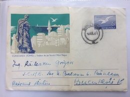 71 VIEW FROM THE BLACK SEA COAST CONSTANTA TOMIS STATIONARY COVER ROMANIA 1961 - 1948-.... Républiques