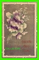FLOWERS, FLEURS - PENSE À MOI CAR JE T'AIME - EMBOSSÉE - CIRCULÉE - - Fleurs