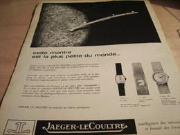 ANCIENNE PUBLICITE LA PLUS PETITE MONTRE DU MONDE JAEGER-LECOULTRE 1965 - Bijoux & Horlogerie