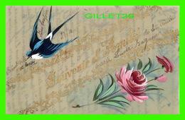 FLOWERS, FLEURS - HIRONDELLE & ROSES PEINT SUR CARTE EN PLASTIC -  SOUVENIR D'AMITIÉ - CIRCULÉE EN 1907 - - Fleurs