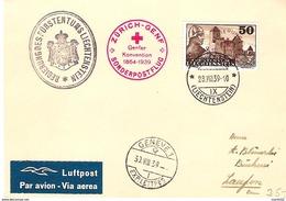 Liechtenstein 1939: Rotkreuz-Flug Zürich > Genf Mit DIENST+MARKE Zu 26 Mi 25 Mit O VADUZ  28.VIII.39 - Service