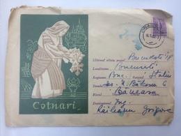 74 VIN WINE WEIN GRAPES RAISIN COTNARI MONASTERY CAP DE BOUR STATIONARY COVER 1962 ROMANIA - 1948-.... Républiques