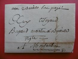LETTRE DE CAHORS PORT PAYE MANUSCRIT AVEC 2 BARRILS VIA MONTAUBAN 1801 - Postmark Collection (Covers)