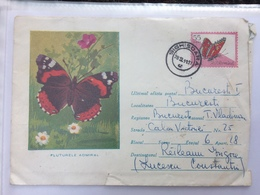79 BUTTERFLY COVER AND STAMP REGISTERED LETTER ALBA-IULIA ELECTRICITY STAMP ON COVER ROMANIA 1964 - 1948-.... Républiques