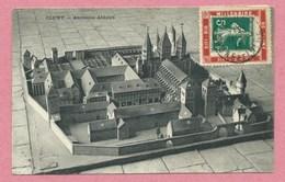 """Sur CP CLUNY - 5 Cent. Semeuse Vert - Porte Timbre """" Millénaire De Cluny - 1910 - 3 Scans - Marcofilie (Brieven)"""