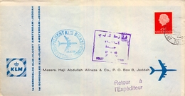 1960 HOLANDA , PRIMER VUELO / FIRST FLIGHT - KLM , AMSTERDAM - JEDDAH - Periodo 1949 – 1980 (Juliana)