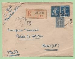 ENTIER 25c SEMEUSE + COMPLEMENT SEMEUSE - LR ALGER Pour VATICAN - 1921 - - Postal Stamped Stationery