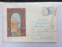 83 PEASANT ARCHITECTURE ROMANIA STATIONARY COVER MARAMURES - 1948-.... Républiques