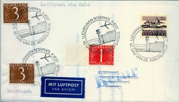 1967 HOLANDA , AMSTERDAM / SCHIPHOL AIRPORT - HAMMERFEST, LLEGADA , AEROFILATELIA , MAT. CONMEMORATIVO - Periodo 1949 – 1980 (Juliana)