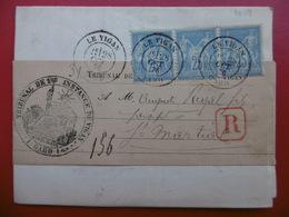 LETTRE RECOMMANDE CACHET LE VIGAN SUR BLOC TYPE SAGE VERSO CACHET SUMENE 1876 - Poststempel (Briefe)