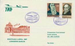 1967 PORTUGAL  , PRIMER VUELO / FIRST FLIGHT , TAP , LISBOA - ZÜRICH - 1910-... República