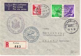 Liechtenstein 1938: Erstflug ZÜRICH > STOCKHOLM R-Brief Zu F9+13 Mi 143+147 DIENST+MARKE No.23 Mi 22 Mit O VADUZ 10.X.38 - Service