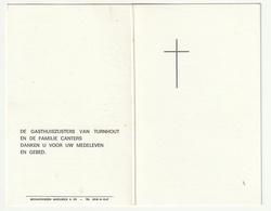 Doodsprentje Zuster Antonia ( Maria CANTERS) Beerse 1907 Gasthuiszuster Turnhout 1980 - Devotion Images