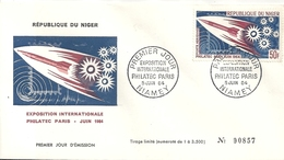 Niger Enveloppe Affranchie Premier Jour Poste Aérienne Exposition Philatec Paris - Niger (1960-...)