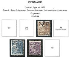 LSJP DENMARK CARAVEL TYPE OF 1927 - TYPE I - 1933-34 - 1913-47 (Christian X)
