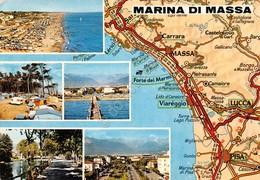Cartolina Marina Di Massa 5 Vedute Con Mappa - Massa