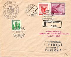 Liechtenstein 1935: Erstflug Vaduz-Innsbruck R-Brief Zu F10+16 Mi 144+148 DIENST+MARKE No. 21 Mi 20 Mit O VADUZ 1.VII.35 - Service