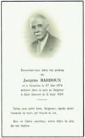 Doodsprentje. Image Mortuaire. Jacques Bardoux. Versailles 1874/Saint Saturnin 1959. - Devotieprenten