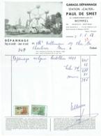 Facture. Garage-Dépannage, Station CALTEX, Wemmel Avec Timbres Fiscaux. 1968. - Cars