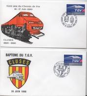 Lot De 2 Enveloppes Commémoratives - Baptème Du TGV Cluses - Centenaire Du Train à Cluses - Autres