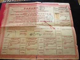 1888 Action & Titre Thème Navigation COMPAGNIE UNIVERSELLE DU CANAL INTEROCÉANIQUE DE PANAMA+FISCAUX+VIGNETTE CONTRÔLE - Navigation
