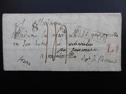 MARQUISE DE GRAS PRÉVILLE LETTRE GRIFFE MILANO VIA MONTPELLIER RÉEXPÉDIÉE PP DEB DE MONTPELLIER 1829 - Marcophilie (Lettres)