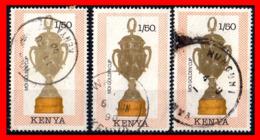 KENIA (AFRICA) 3 SELLOS AÑO 1990 FOOTBALL WORLD CUP  ITALY - TROPHIES - Kenia (1963-...)