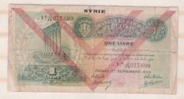 Banque De Syrie Et Du Liban Une Livre Damas Le 1 Er Septembre 1939 - Syrie