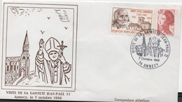 Enveloppe Commémorative De La Visite De Jean-Paul II à Annecy - Autres