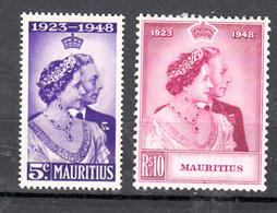 Mauritius 1948 Mi Nr 221 - 222, Koning George VI., Postfris Met Plakker - Mauritius (...-1967)
