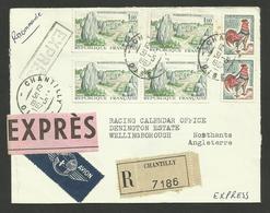 Lettre Exprès Recommandée >>> ANGLETERRE / CHANTILLY 31.05.1967 / Affr. Carnac & Coq - Marcophilie (Lettres)