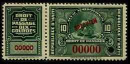 1910 Haiti $10 Gourdes (Revenue Specimen) - Haiti