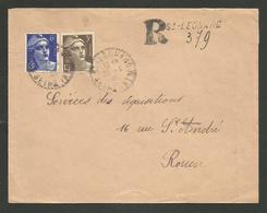 Cachet Recommandé Provisoire ST LEONARD - SEINE MARITIME 26.04.1946 / Affr. Marianne De Gandon - Postmark Collection (Covers)