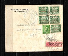Ecuador 1937 Sobre Circulado De La Elegacion De Francia En Ecuador Dirigido Al Agente Consular De Francia - Ecuador