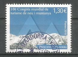 Congrès Mondial De Tourisme De Neige Et De Montagne,Andorra,mars 2018.  Un Timbre Oblitéré 1 ère Qualité - Used Stamps