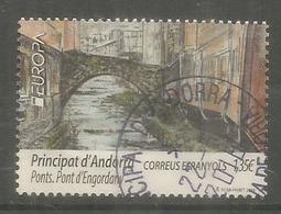 ANDORRA. EUROPA 2018, Le Pont Roman D'Engordany, Un Timbre Oblitéré.1 ère Qualité - Used Stamps