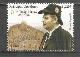 Julià Reig I Ribó . Tabacos Reig (Museo Del Tabaco) Andorra, Timbre Oblitéré, 1 ère Qualité. Haute Faciale 2017 - Used Stamps