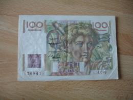 Billet 100 F Jeune Paysan Numero 76941 Serie J 597 , F 1.4 1954 - 1871-1952 Anciens Francs Circulés Au XXème