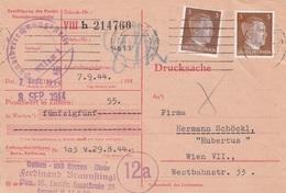 DEUTSCHES REICH 1944 - 2 X 3 Pfg Auf Bestätigung Der Punktverrechnungsstelle Wien 1 (Drucksache, Firmenstempel,Nachporto - Briefe U. Dokumente