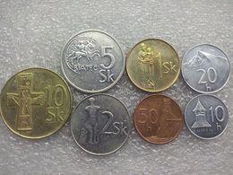 Slovakia Set : 1-10 Koruna , 10-50 Halierov  , Used Coins - Slovakia