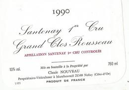 Etiquette Santenay 1 Er Cru Grand Clos Rousseau - Bourgogne