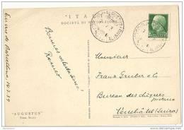 "110 - 32 - Carte Navire ""Augustus"" Et Cachet Postal Maritime 1939 - 1900-44 Vittorio Emanuele III"