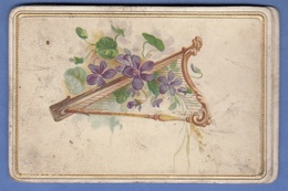 GLÜCKWUNSCHKARTE 1889 - Golddruck, Oblatenbild, Doppelseitig, Format Ca.11 X 7 Cm - Seasons & Holidays