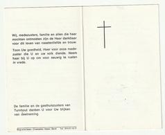 Doodsprentje Zuster Donata (Emma VAN THIELEN) Bouwel 1900 Gasthuiszuster Turnhout 1986 - Images Religieuses