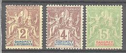 Dahomey: Yvert N° 7/9* - Ungebraucht