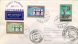 1972 SIRIA  , PRIMER VUELO / FIRST FLIGHT , LUFTHANSA , DAMASCO - BEIRUT - ANKARA - Siria