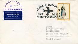1972 GRECIA  , PRIMER VUELO / FIRST FLIGHT , LUFTHANSA , THESALONICA - DÜSSELDORF - Grecia