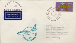 1972 IRLANDA  , PRIMER VUELO / FIRST FLIGHT , LUFTHANSA , DUBLIN - FRANKFURT - Covers & Documents